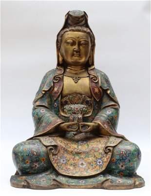 large Ming Dynasty Xuande cloisonne enameled Guanyi