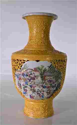 Qing Dynasty Qianlong Yellow Glaze 1000