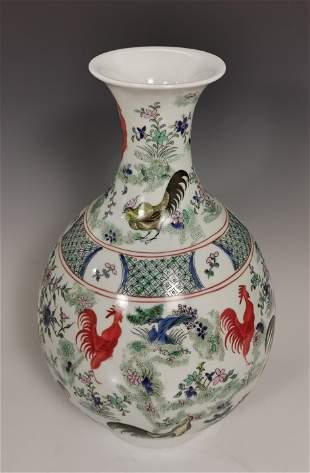 Large Qing Kangxi Famile Rose Porcelain Cock Yuhuchun