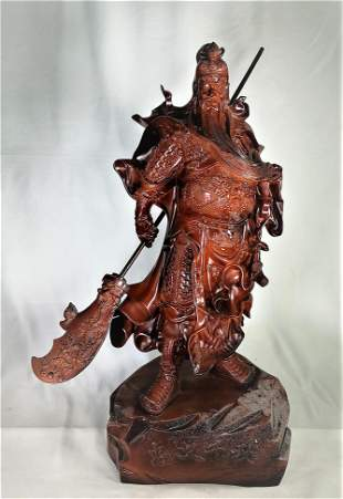 Chinses Wood Carving God Of War Sculpture