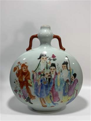 Qing Qianlong fencai twelve flower god flat vase