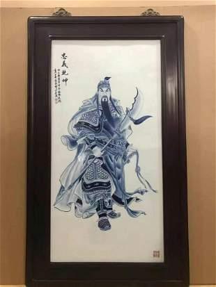Ebony old frame Qing dynasty blue & white porcelain