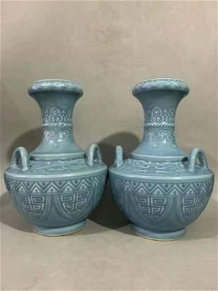 A pair Qing Qianlong fine bean green glaze carved