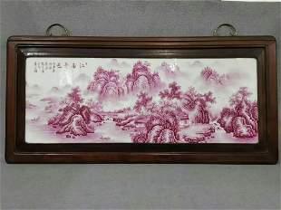 fine-grade agate red landscape old frame porcelain