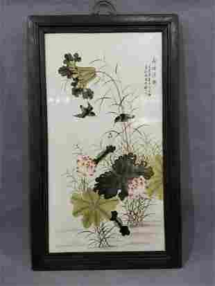 old frame fencai porcelain plate painting hanging