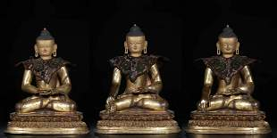 Qing Dynasty gilt Bronze gold III Buddha statue
