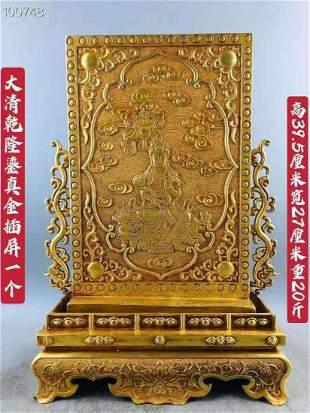 Qing Qianlong real gold screen swing, instrumental