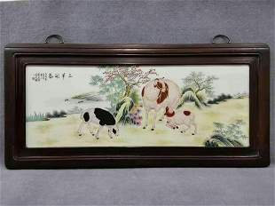 pear wood frame porcelain plate painting hanging