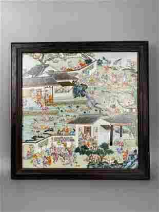 Qing Tongzhi fencai hundred children of the spring big