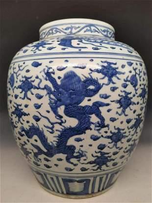 Ming Dynasty blue & white Flying Dragon Cloud porcelain