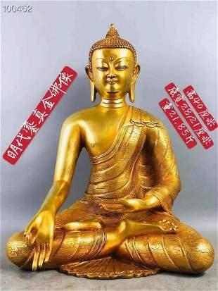 Ming Yongle gilt gold bronze Buddha statue