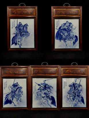Five Cedar wood old frames porcelain plate painting