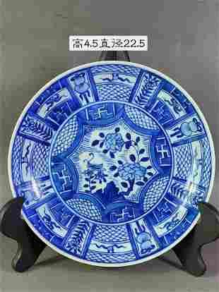 Qing Kangxi blue & white appreciation porcelain plate,