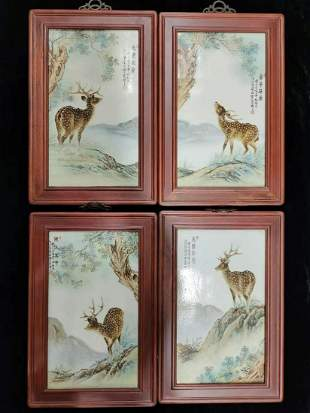 Qing four pieces of porcelain plate painting hanging