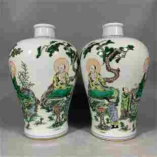 A pair Kangxi ancient color porcelain meiping vases