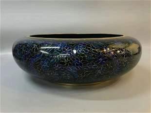 Large Chinese enamel copper blue dragon pattern brush