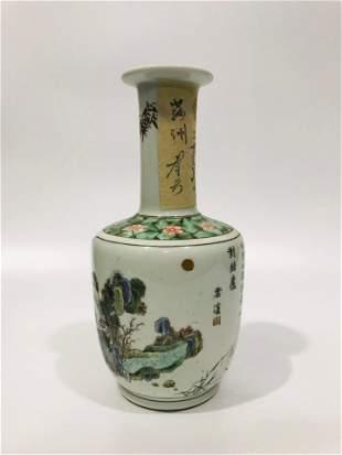 Qing Dynasty wucai colorful landscape poem long neck