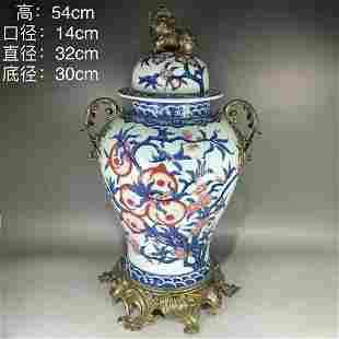 Qing Qianlong including copper blue flowers red Fushou