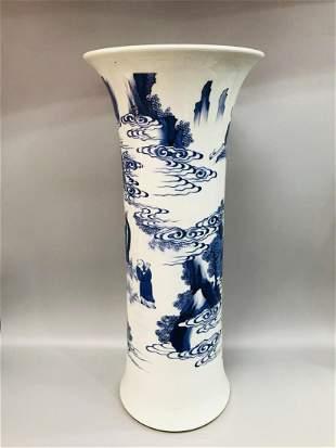 Qing Dynasty blue & white figure flower porcelain vase