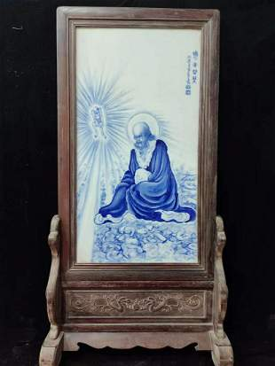 Qing blue & white screen Rohan porcelain plate painting
