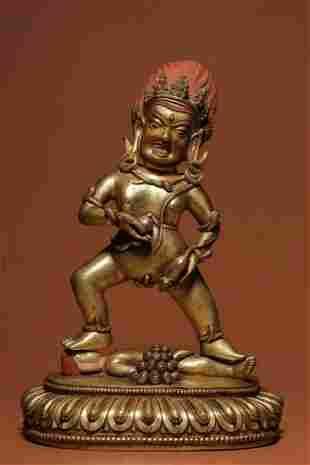 Ming Dynasty gilt bronze gold black treasure god statue