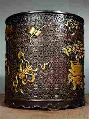 A copper real gold full of high relief eight treasure