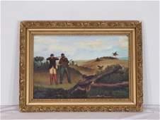 Amer. Folk painting (oil) Hunters & game