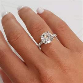 D VVS SET IN 14K WHITE GOLD DIAMOND PAVE ENGAGEMENT