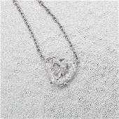 18K White Gold Necklace-3 Ct G VS2 Heart Diamond