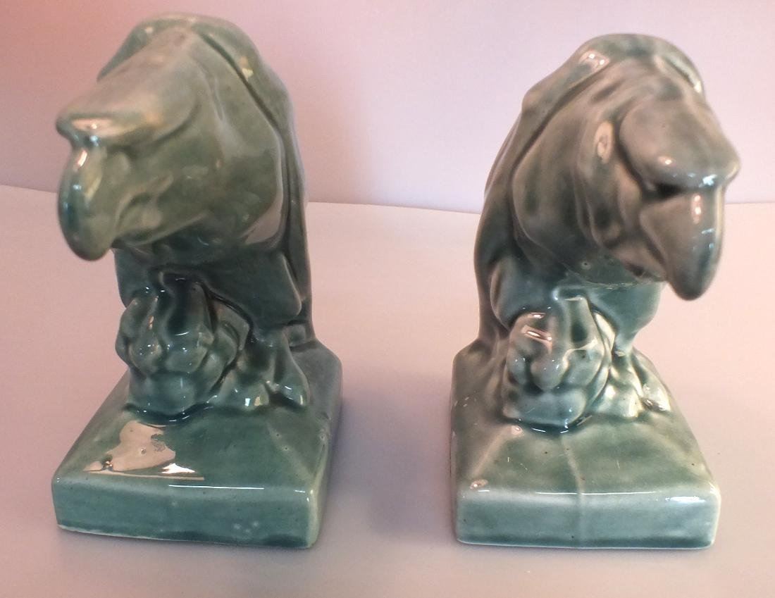 Green Pottery eagle statues pair c. 1950's - 2
