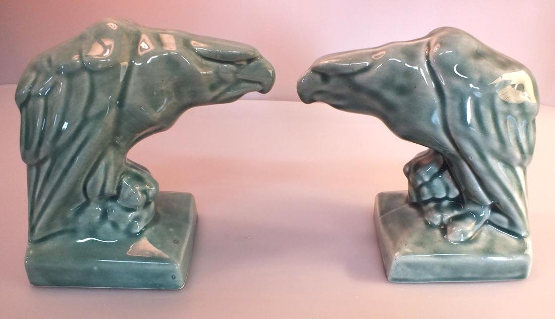 Green Pottery eagle statues pair c. 1950's - 3