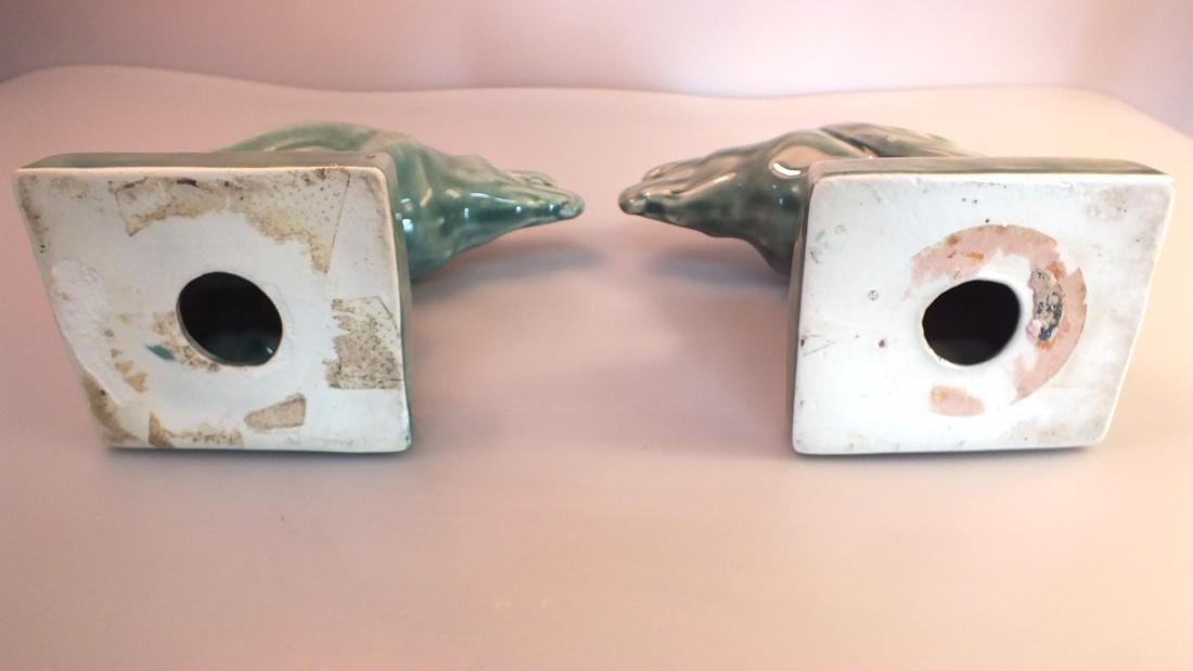 Green Pottery eagle statues pair c. 1950's - 4