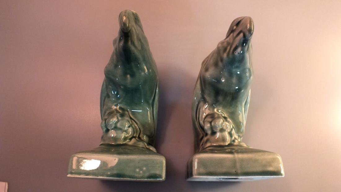 Green Pottery eagle statues pair c. 1950's - 6