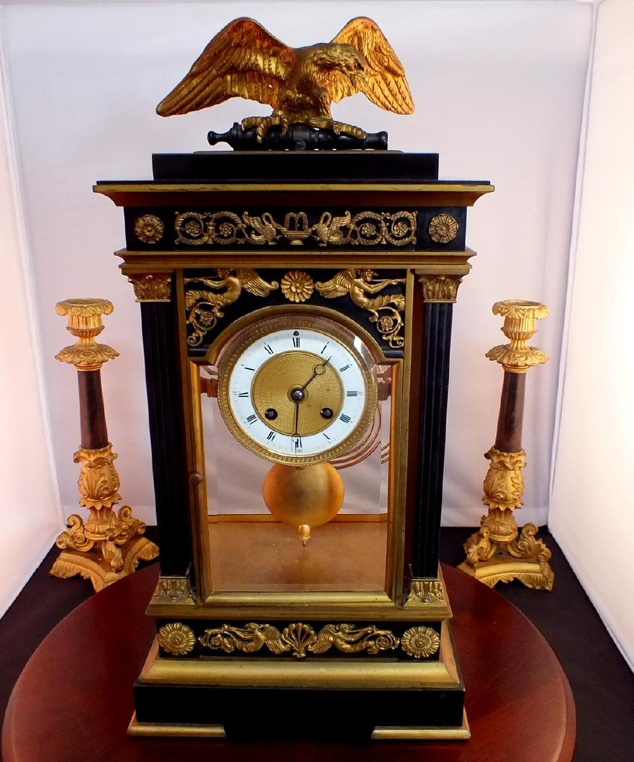 French Black metal and Bronze clock