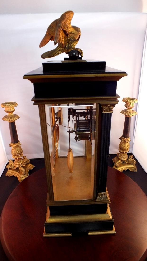 French Black metal and Bronze clock - 3