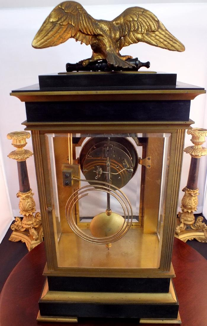 French Black metal and Bronze clock - 4