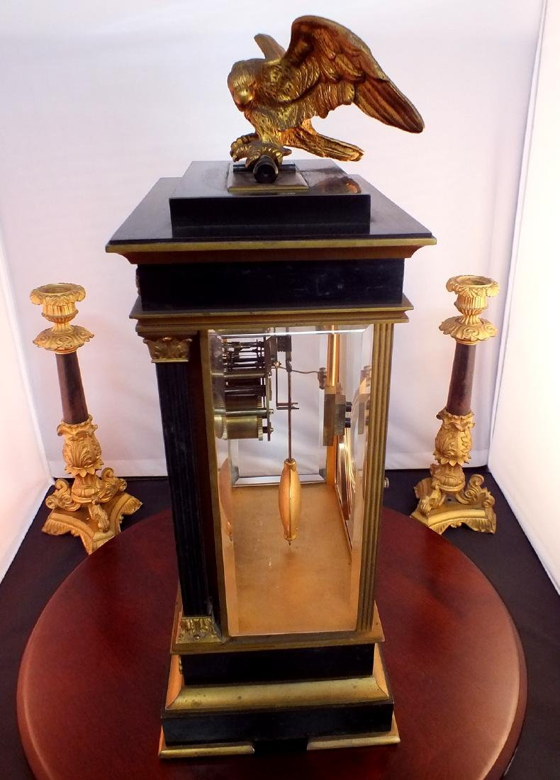 French Black metal and Bronze clock - 6