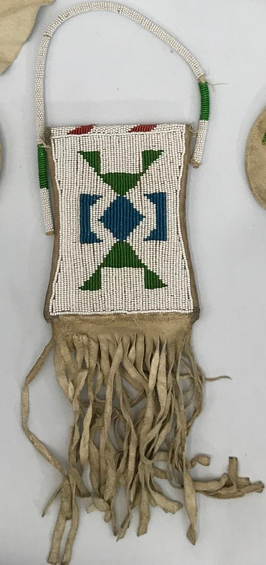 Vintage Navajo Siox Indian, Beaded Leather Pouch - 2