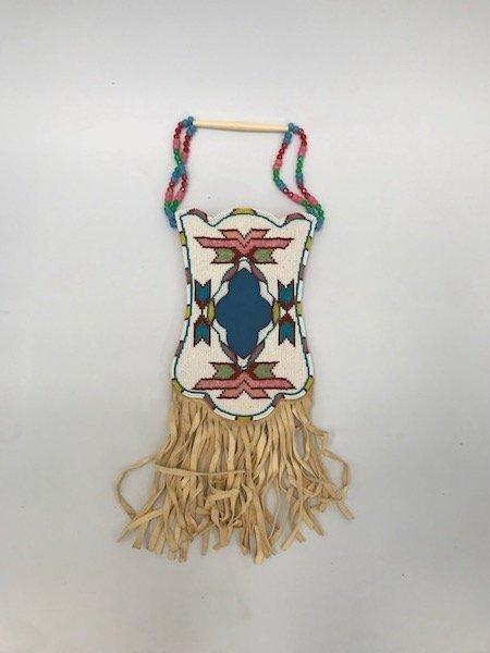 Arapaho Native Indian Teepee Bag or Pouch, Buckskin