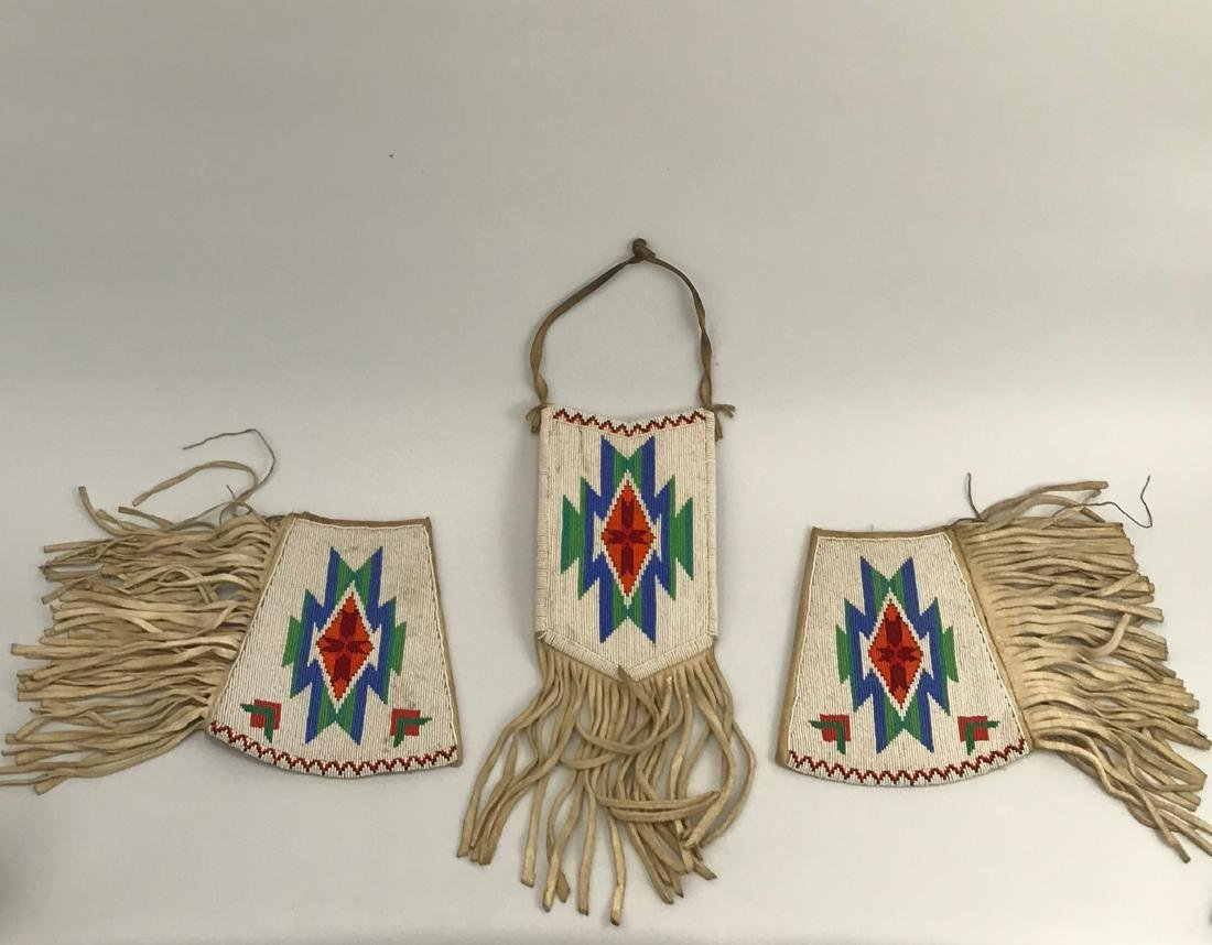 Sioux Native American Pouch & Leg Covers, Deer Skin