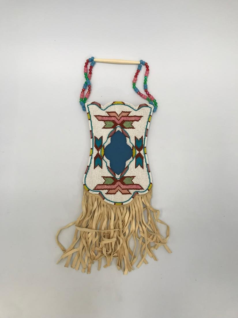 Sioux Native American Pouch & Leg Covers, Deer Skin - 2