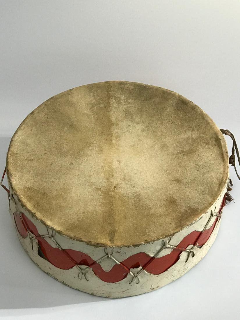 Native American Pow Wow Drum with Red Color, Wave - 2