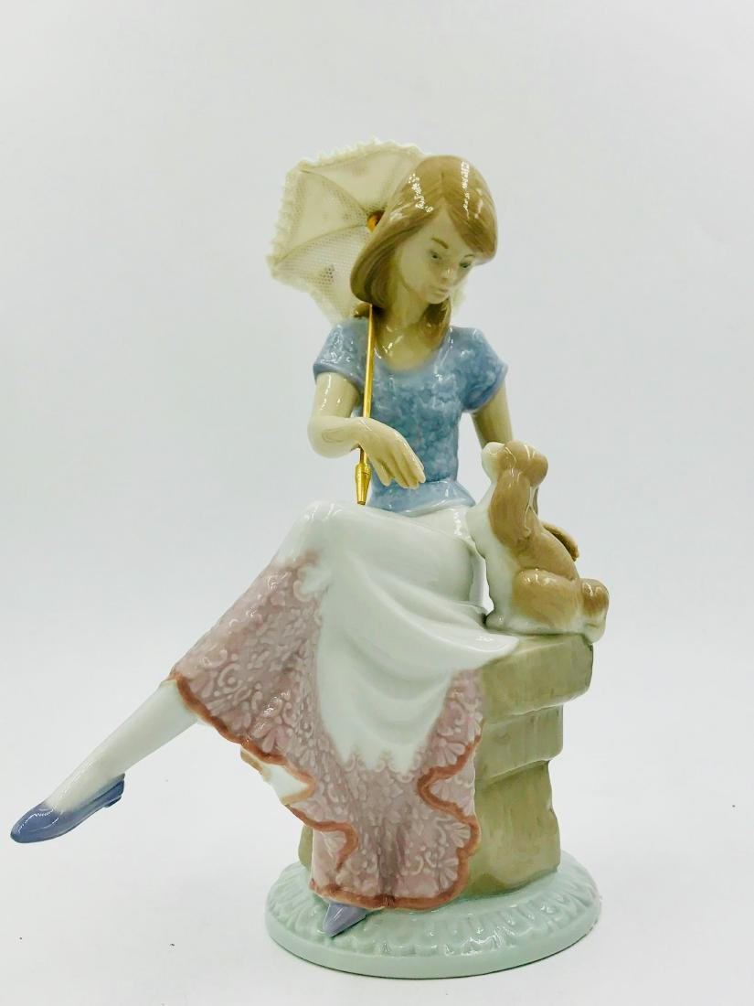 Lladro Girl with Parasol and Dog, Figurine