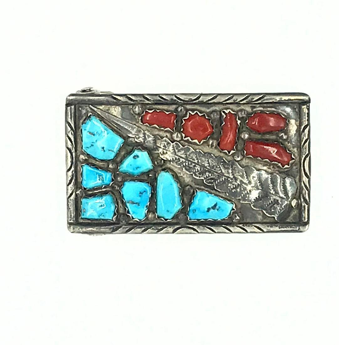 Zuni, Wayne Cheama, Sterling Turquoise-Coral Belt