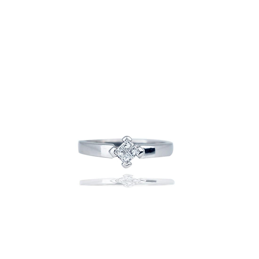 Invisible Diamond Princess Band Ring, 18Kt, ¼ Carat
