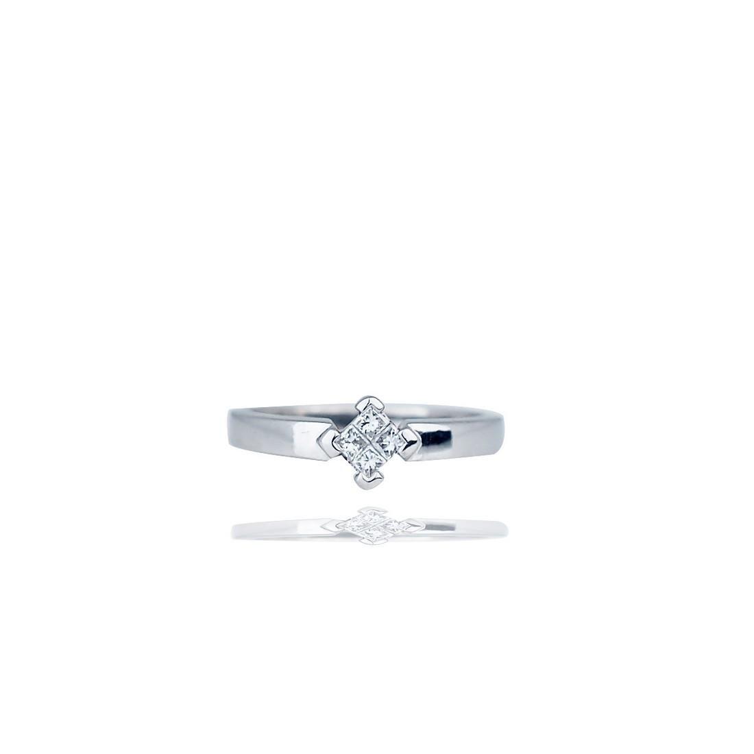 Invisible Diamond Princess Band Ring, 18Kt, ¼ Carat