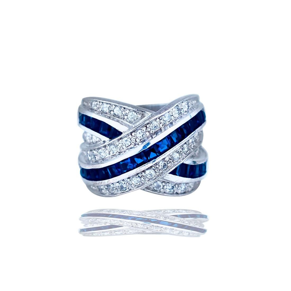 Contemporary, Criss Cross, Sapphire Band Ring, 4.00 TCW
