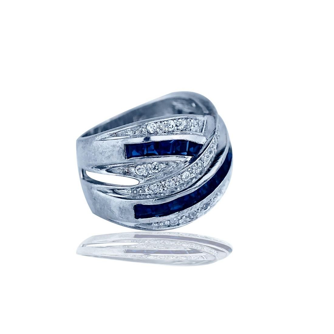Contemporary, Criss Cross, Sapphire Band Ring, 4.00 TCW - 2