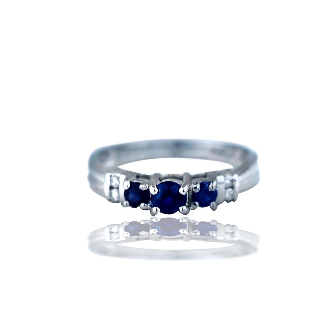 Stackable, 4 mm Sapphire and Diamond Band Ring
