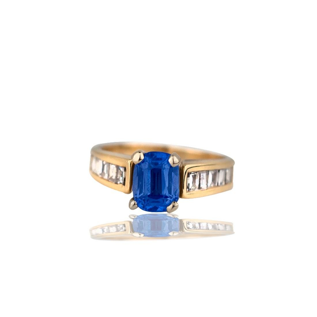 Emerald Cut Tanzanite and Baguette Diamonds, 1.38 TCW
